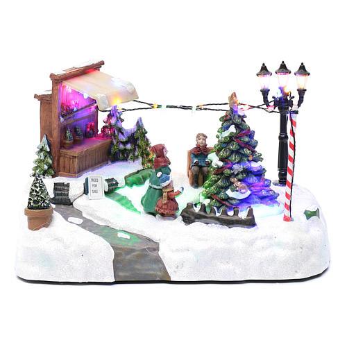 Paisaje de Navidad con negocio navideño música y árbol en movimiento 20x25x20 cm 1
