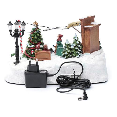 Paisaje de Navidad con negocio navideño música y árbol en movimiento 20x25x20 cm 5