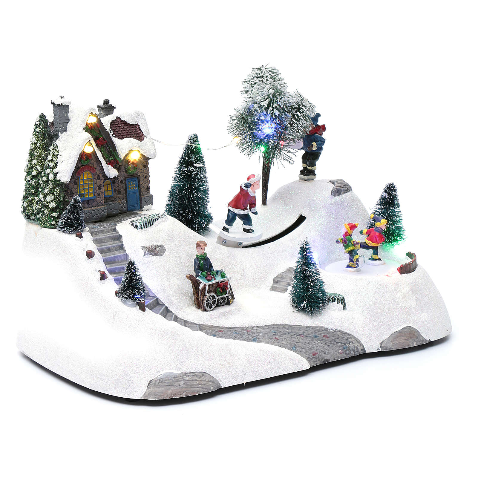 Moving christmas scene with music and ice skating | online sales on ...
