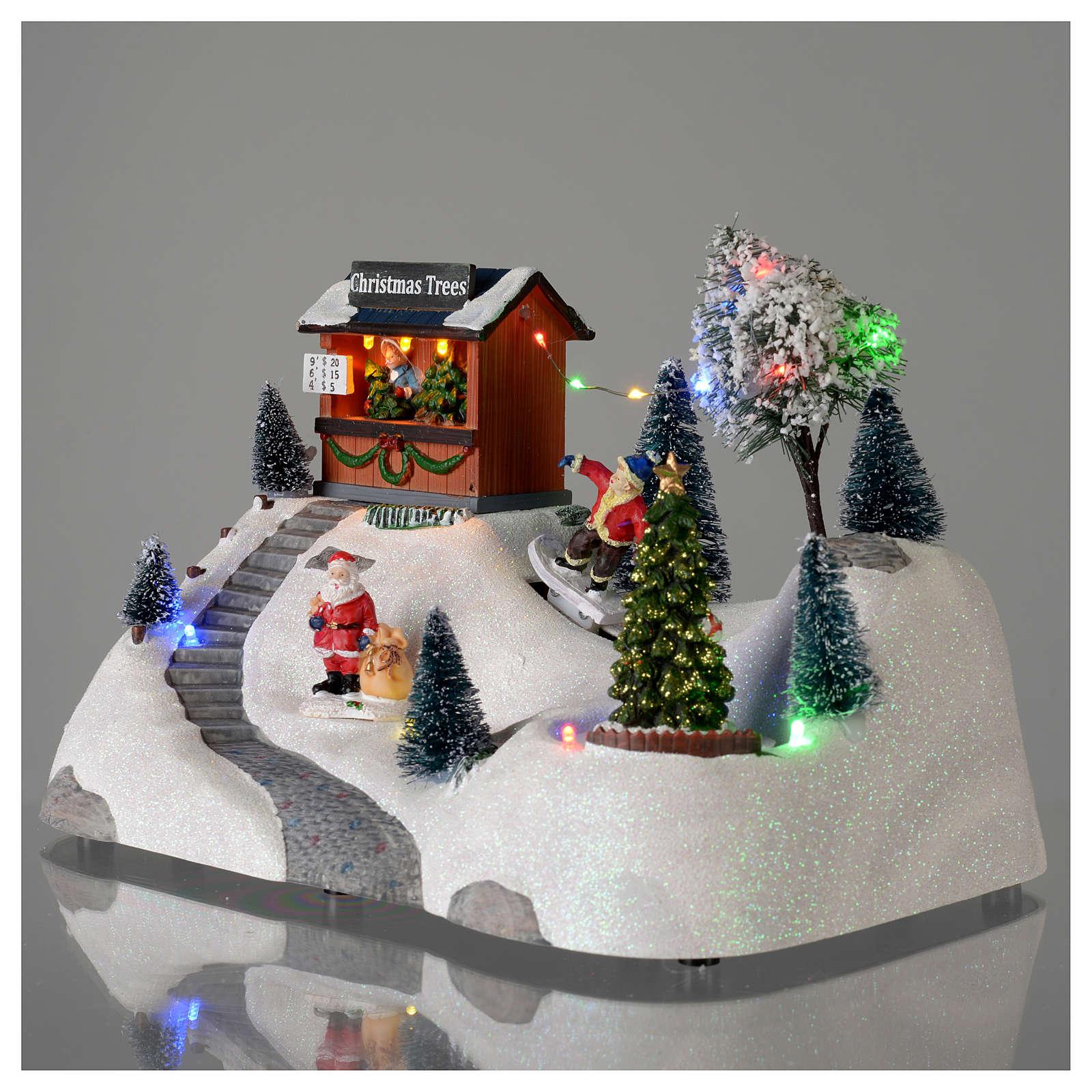 Paisaje de Navidad con música y árbol verde en movimiento 20x30x15 cm 3