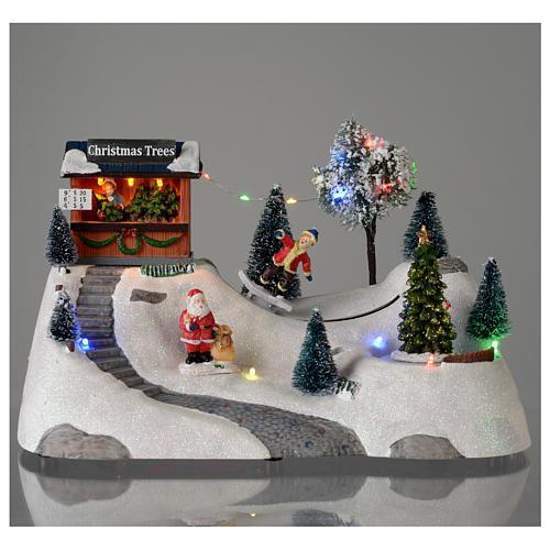 Paisaje de Navidad con música y árbol verde en movimiento 20x30x15 cm 2