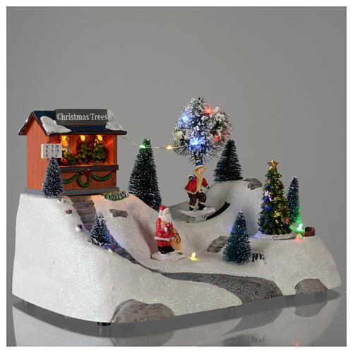 Paisaje de Navidad con música y árbol verde en movimiento 20x30x15 cm 4