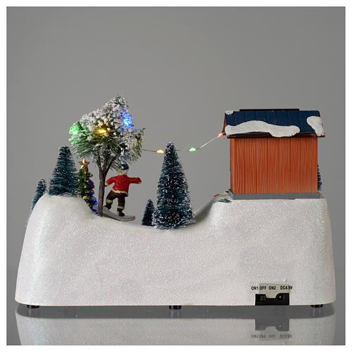 Paisaje de Navidad con música y árbol verde en movimiento 20x30x15 cm 5