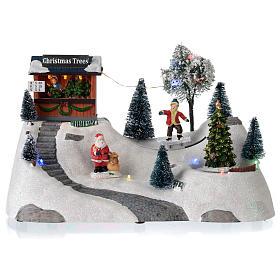 Villages de Noël miniatures: Scène Noël musique arbre vert en mouvement 20x30x15 cm