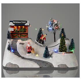Scène Noël musique arbre vert en mouvement 20x30x15 cm s2