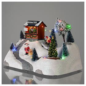 Scène Noël musique arbre vert en mouvement 20x30x15 cm s3
