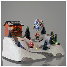 Scène Noël musique arbre vert en mouvement 20x30x15 cm s4