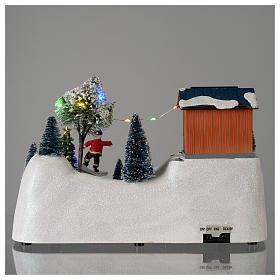 Scène Noël musique arbre vert en mouvement 20x30x15 cm s5