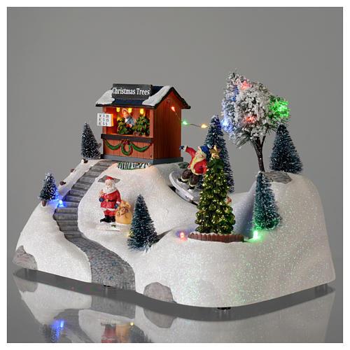 Scène Noël musique arbre vert en mouvement 20x30x15 cm 3