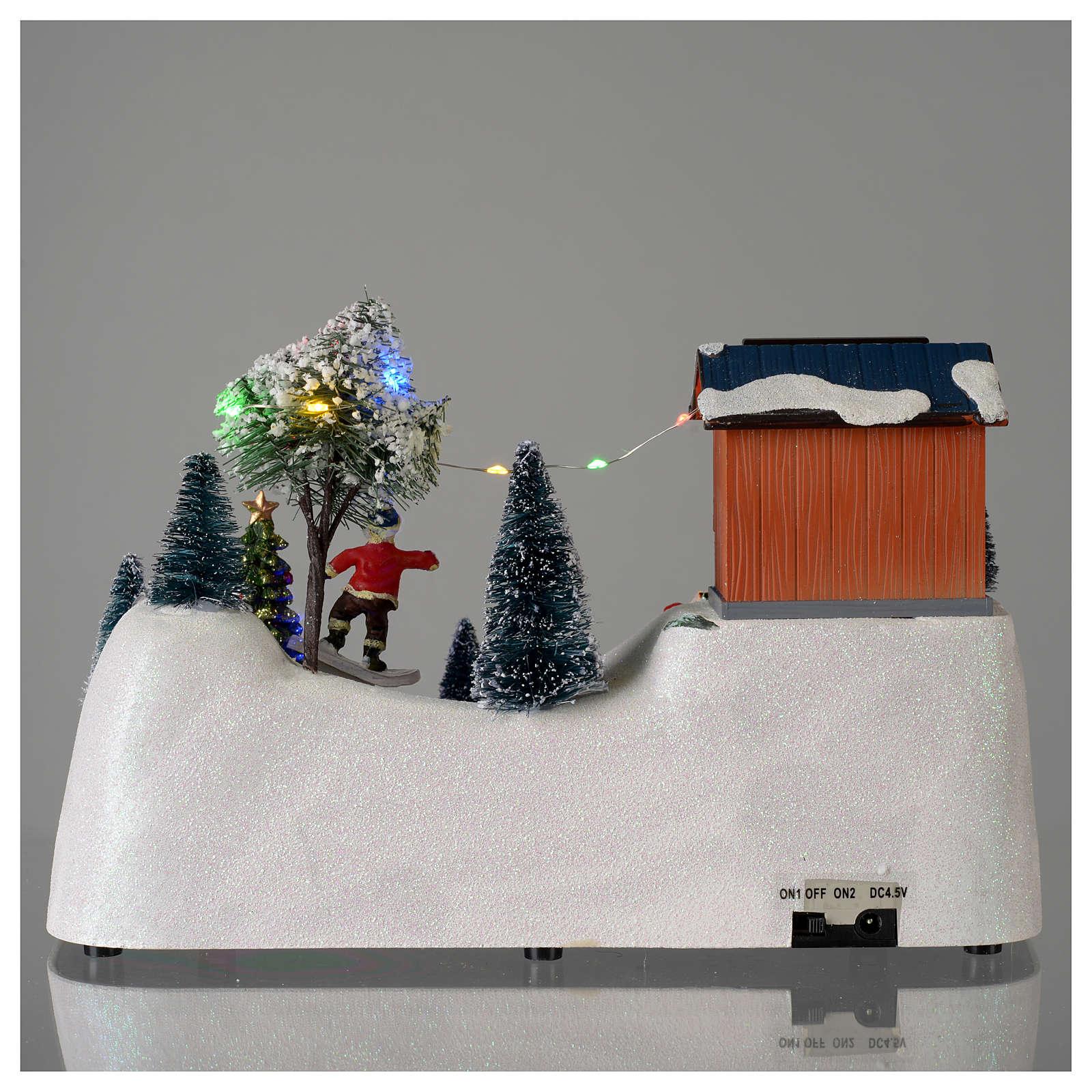 Scena natalizia musica albero verde in movimento 20x30x15 cm 3