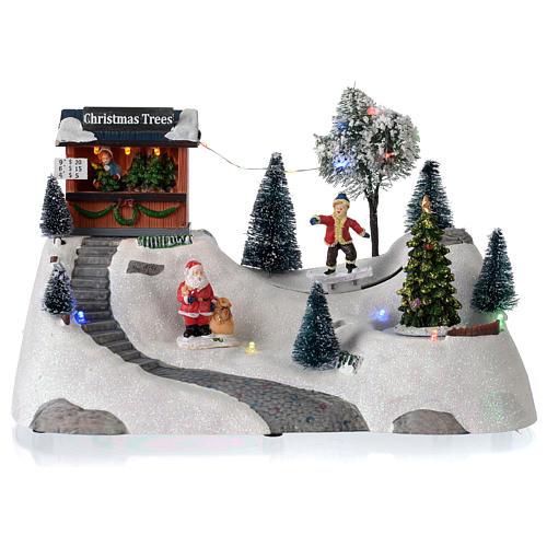 Scena natalizia musica albero verde in movimento 20x30x15 cm 1