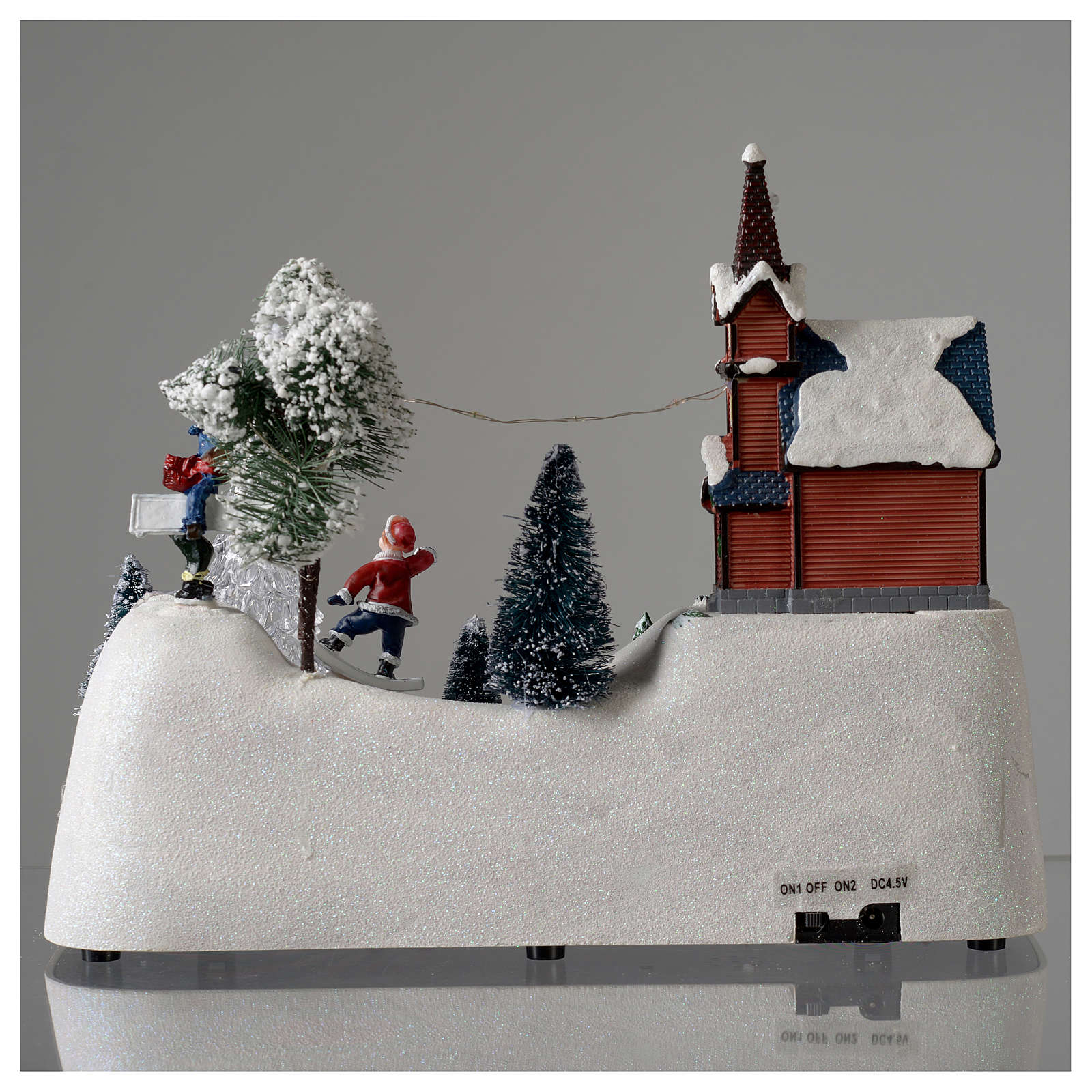 Christmas scene with church, snowman and moving tree 20x30x15 cm 3