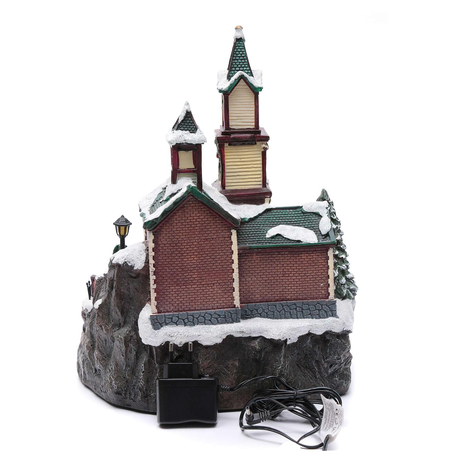 Weihnachtsdorf Spieluhr mit Lichtern, 38x28x30 cm 3
