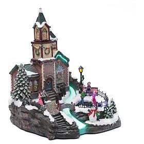Weihnachtsdorf Spieluhr mit Lichtern, 38x28x30 cm s3