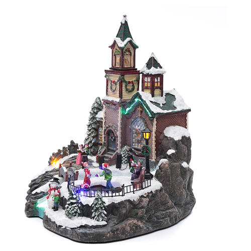 Weihnachtsdorf Spieluhr mit Lichtern, 38x28x30 cm 2