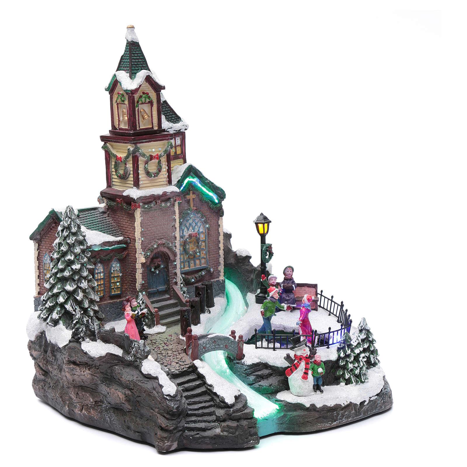 Villaggio natalizio musicale illuminato lago ghiacciato movimento 38X28X30 cm 3