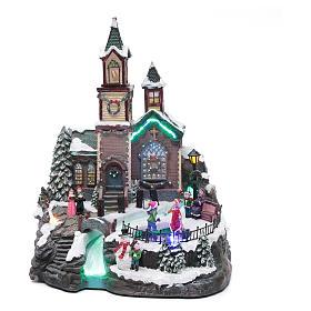 Villaggio natalizio musicale illuminato lago ghiacciato movimento 38X28X30 cm s1