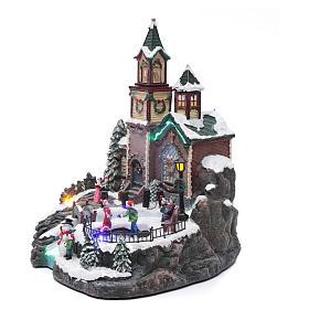 Villaggio natalizio musicale illuminato lago ghiacciato movimento 38X28X30 cm s2