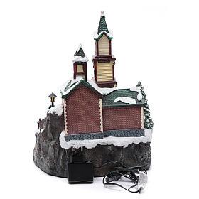Villaggio natalizio musicale illuminato lago ghiacciato movimento 38X28X30 cm s4