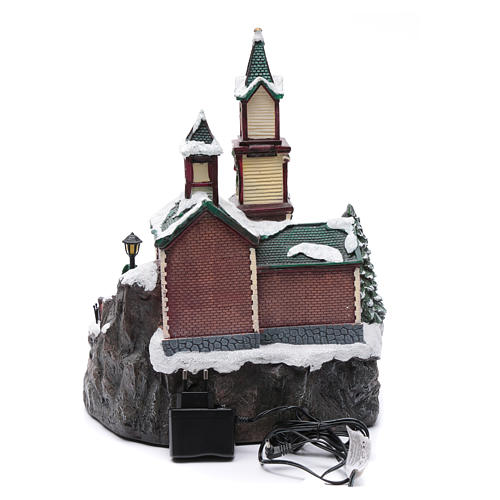 Villaggio natalizio musicale illuminato lago ghiacciato movimento 38X28X30 cm 4
