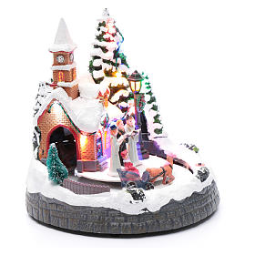 Aldea navideña iluminada musical movimiento carruajes 20x19x18 cm s3