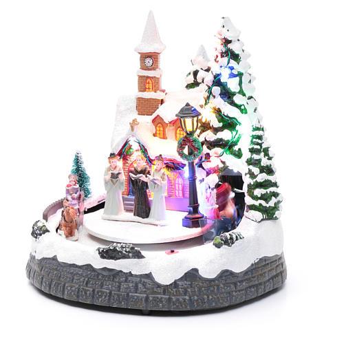 Aldea navideña iluminada musical movimiento carruajes 20x19x18 cm 2