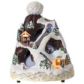 Cenários Natalinos em Miniatura: Cenário Natal forma chapéu luzes música movimento esquiadores 24x19x19 cm
