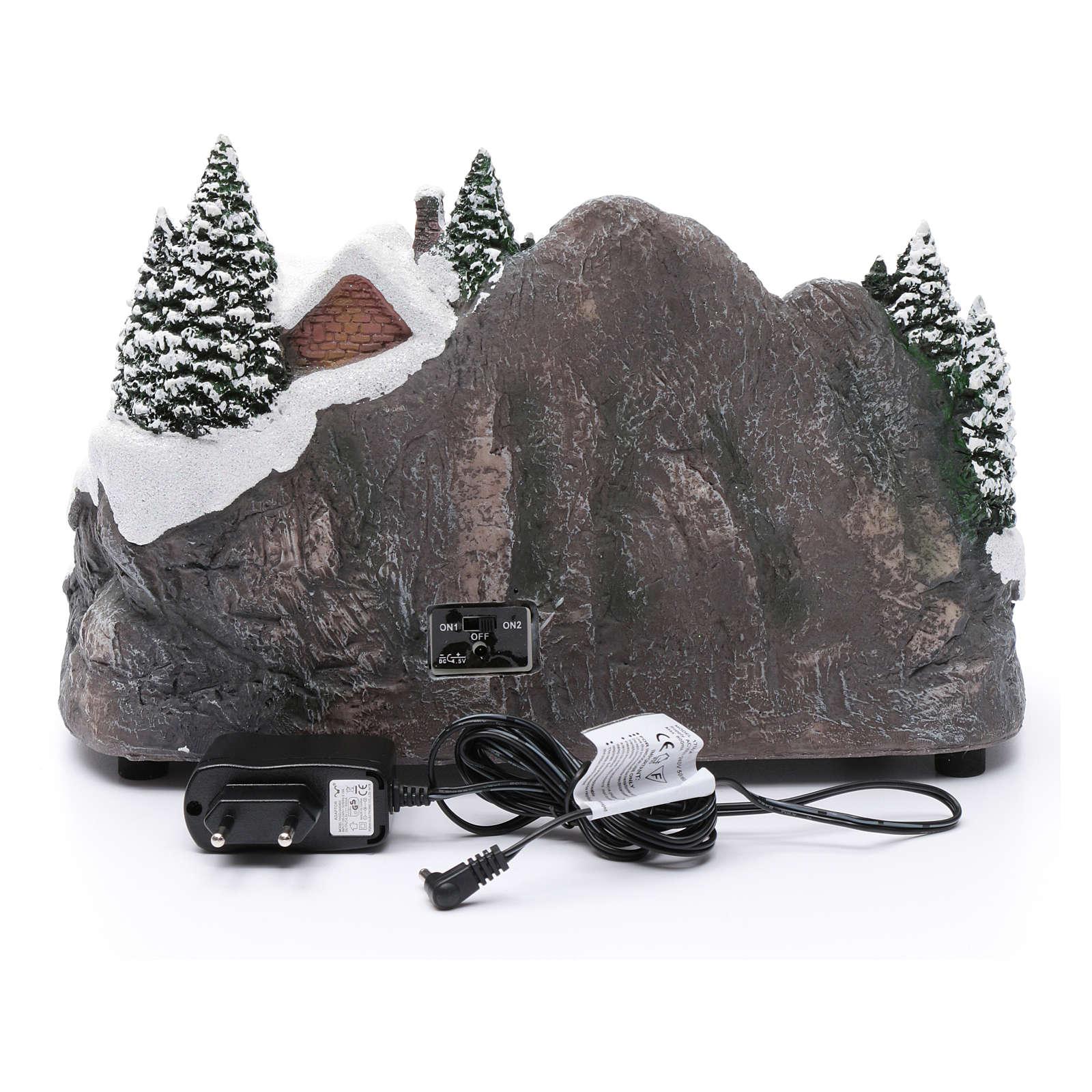 Aldea navideña iluminado musical movimiento árbol navidad 19x31x20 cm 3