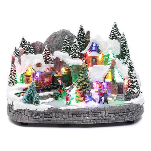 Aldea navideña iluminado musical movimiento árbol navidad 19x31x20 cm 1