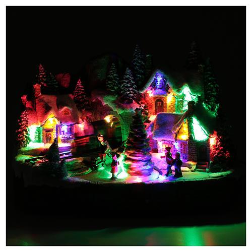 Aldea navideña iluminado musical movimiento árbol navidad 19x31x20 cm 4