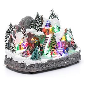 Villaggio natalizio illuminato musicale movimento albero natale 19X31X20 cm s3