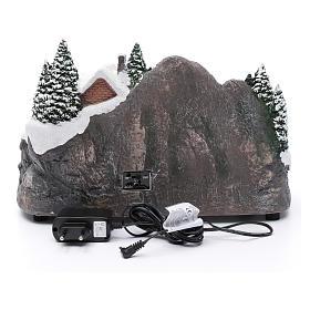 Villaggio natalizio illuminato musicale movimento albero natale 19X31X20 cm s5