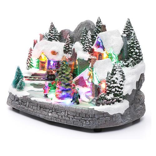 Villaggio natalizio illuminato musicale movimento albero natale 19X31X20 cm 2