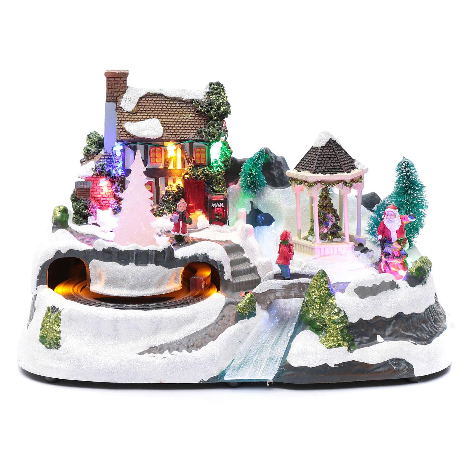 Villaggio natalizio luci musicale movim treno alberi natale 17X31X19 cm 3