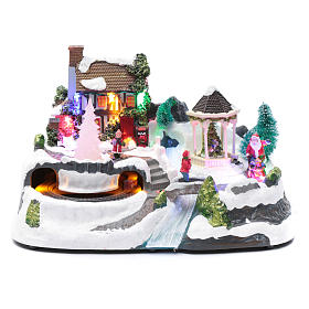 Villaggio natalizio luci musicale movim treno alberi natale 17X31X19 cm s1