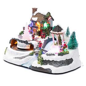 Villaggio natalizio luci musicale movim treno alberi natale 17X31X19 cm s2