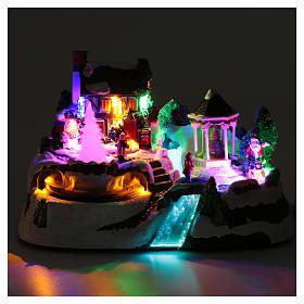 Villaggio natalizio luci musicale movim treno alberi natale 17X31X19 cm s4