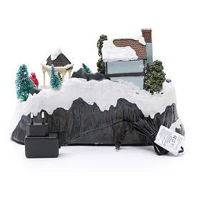 Villaggio natalizio luci musicale movim treno alberi natale 17X31X19 cm s5