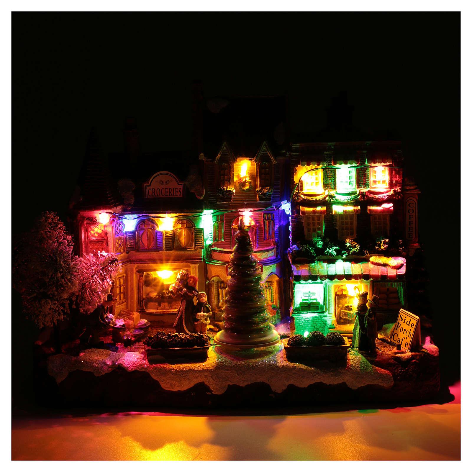 Villaggio natalizio luminoso musicale movimento albero natale 22X30X12 cm 3