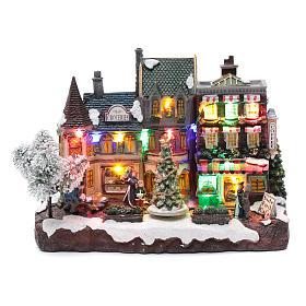 Villaggio natalizio luminoso musicale movimento albero natale 22X30X12 cm s1