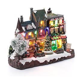 Villaggio natalizio luminoso musicale movimento albero natale 22X30X12 cm s3