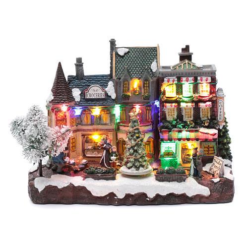 Villaggio natalizio luminoso musicale movimento albero natale 22X30X12 cm 1