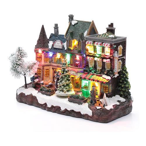 Villaggio natalizio luminoso musicale movimento albero natale 22X30X12 cm 2