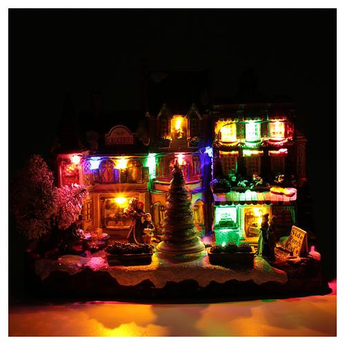 Villaggio natalizio luminoso musicale movimento albero natale 22X30X12 cm 4