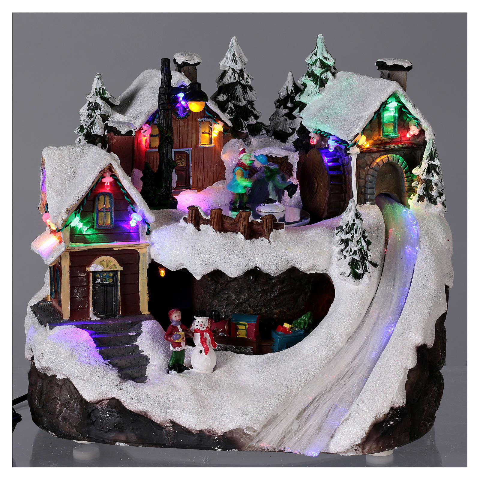 Christmas village illuminated with music, movement, train, iced lake 23X21X16 cm 3