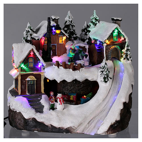 Christmas village illuminated with music, movement, train, iced lake 23X21X16 cm 2