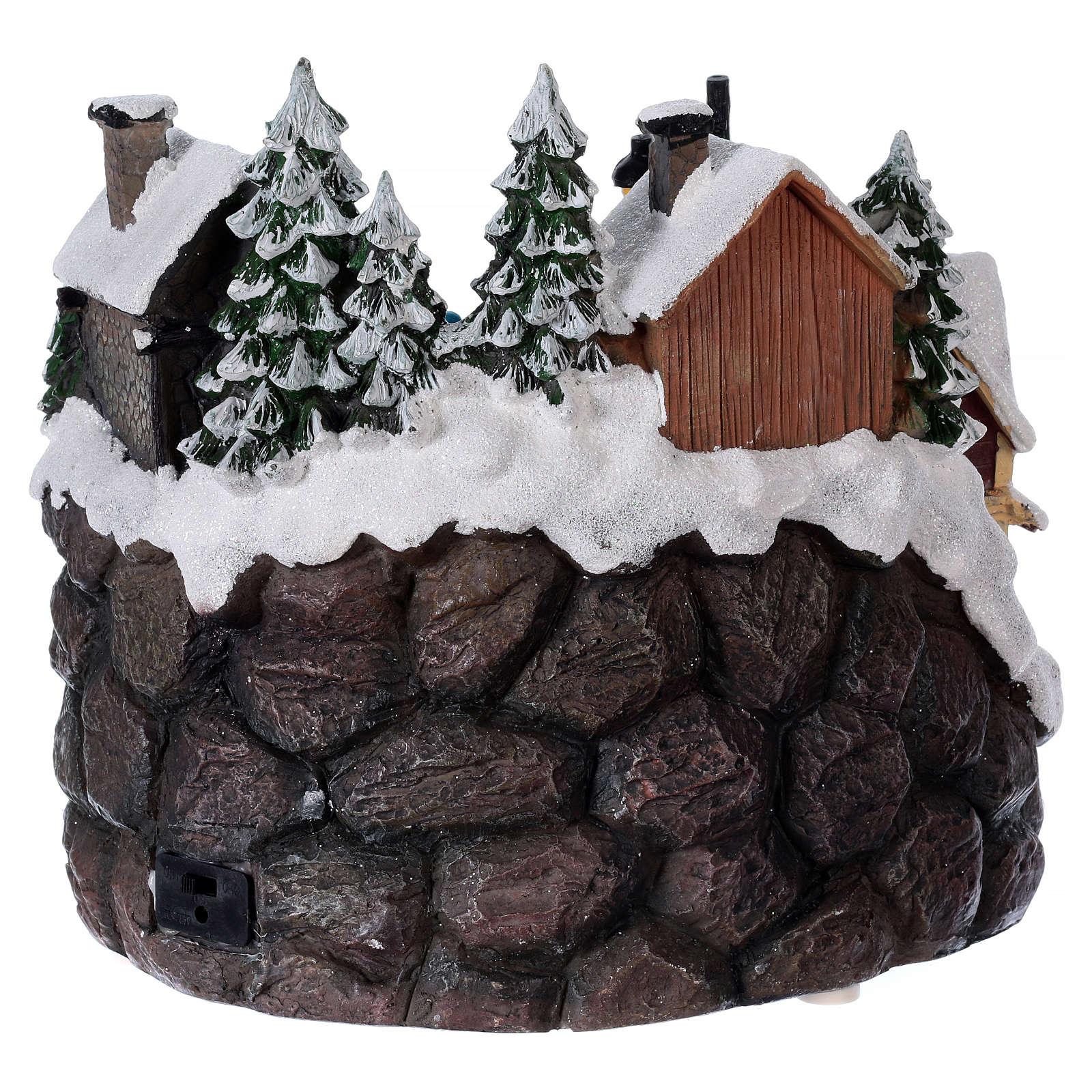 Pueblo navideño luminoso musical movimiento tren lago congelado 23x21x16 cm 3
