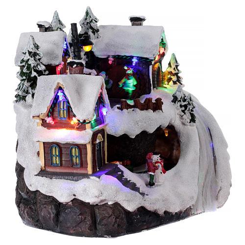 Pueblo navideño luminoso musical movimiento tren lago congelado 23x21x16 cm 4