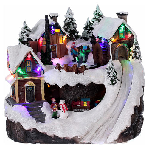 Village Noël lumineux musical mouvement train lac glacé 23x21x16 cm 1
