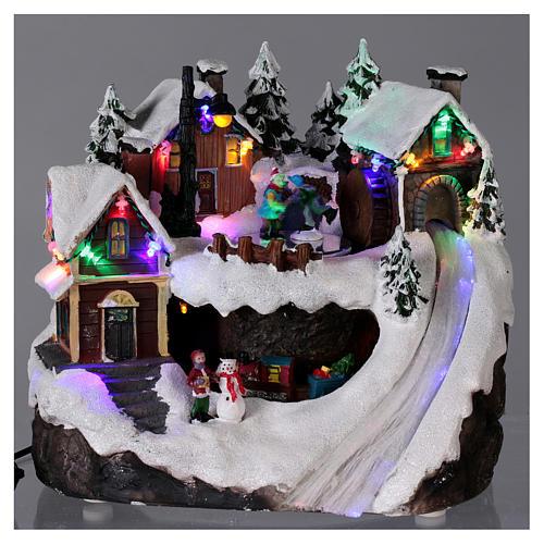 Village Noël lumineux musical mouvement train lac glacé 23x21x16 cm 2